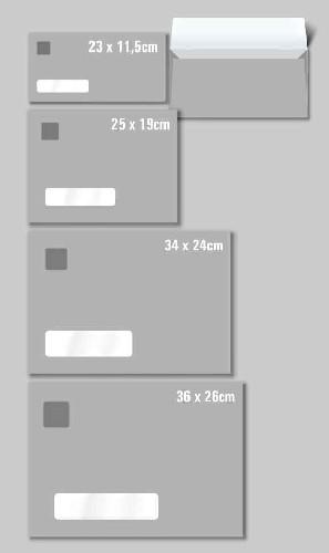 envelopes tamanhos